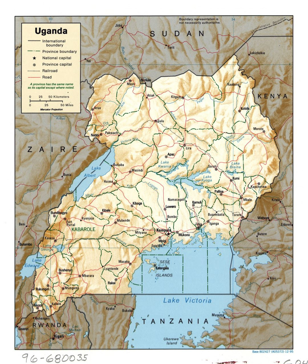 Large detailed political and administrative map of Uganda with relief, roads, railroads and major cities - 1995