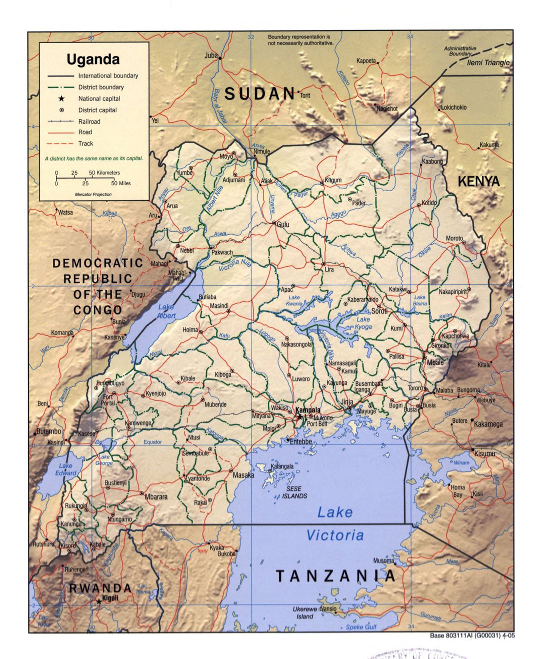 Large detailed political and administrative map of Uganda with relief, roads, railroads and major cities - 2005