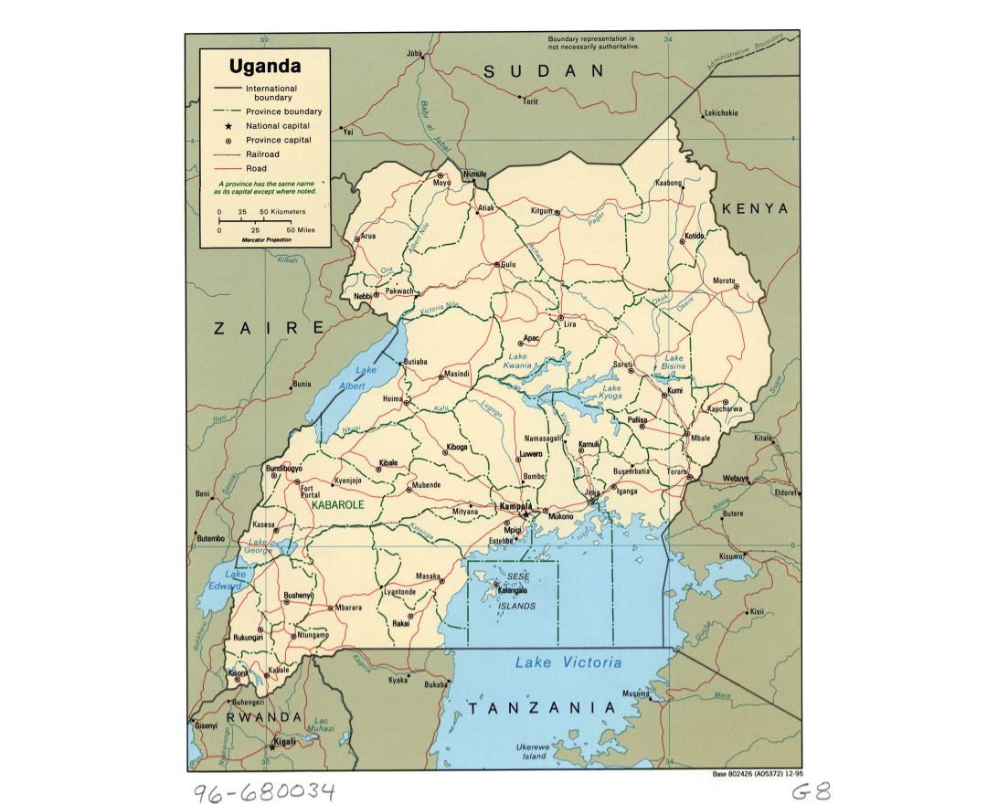 Large detailed political and administrative map of Uganda with roads, railroads and major cities - 1995