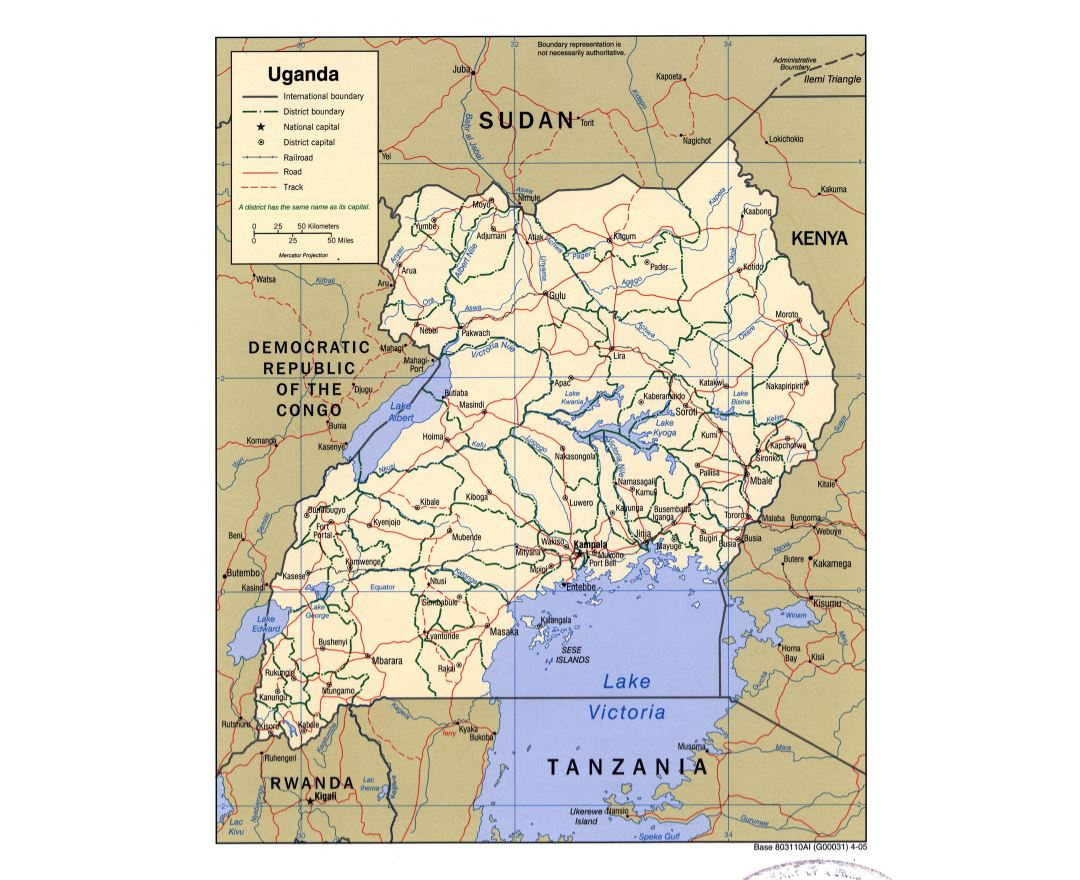 Large detailed political and administrative map of Uganda with roads, railroads and major cities - 2005