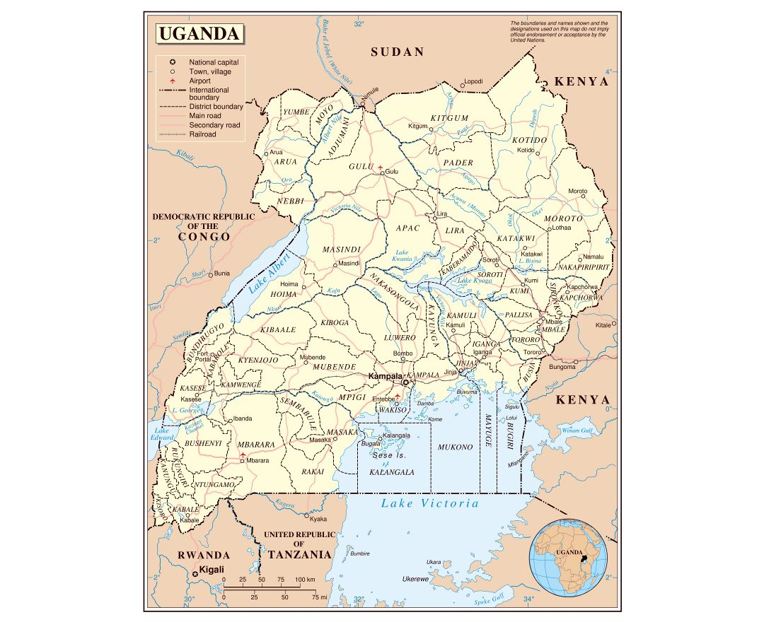 Large detailed political and administrative map of Uganda with roads, railroads, cities and airports