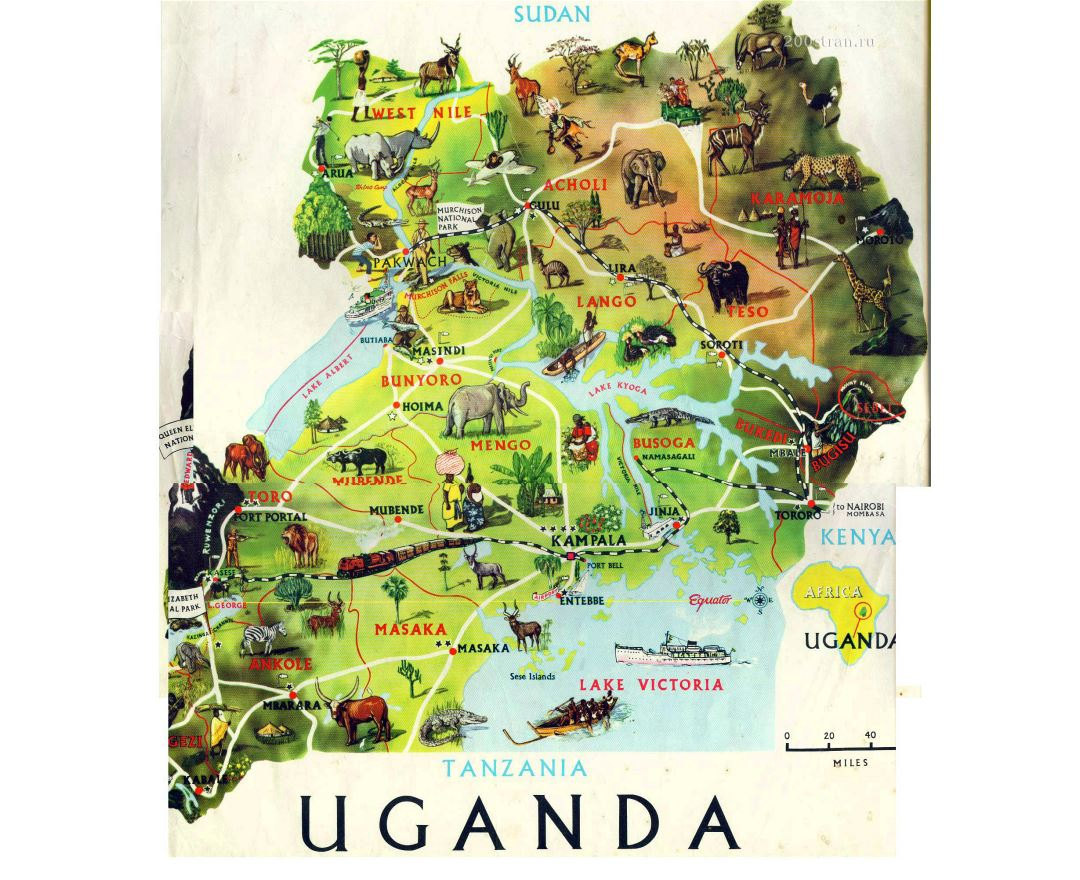 Large detailed tourist illustrated map of Uganda