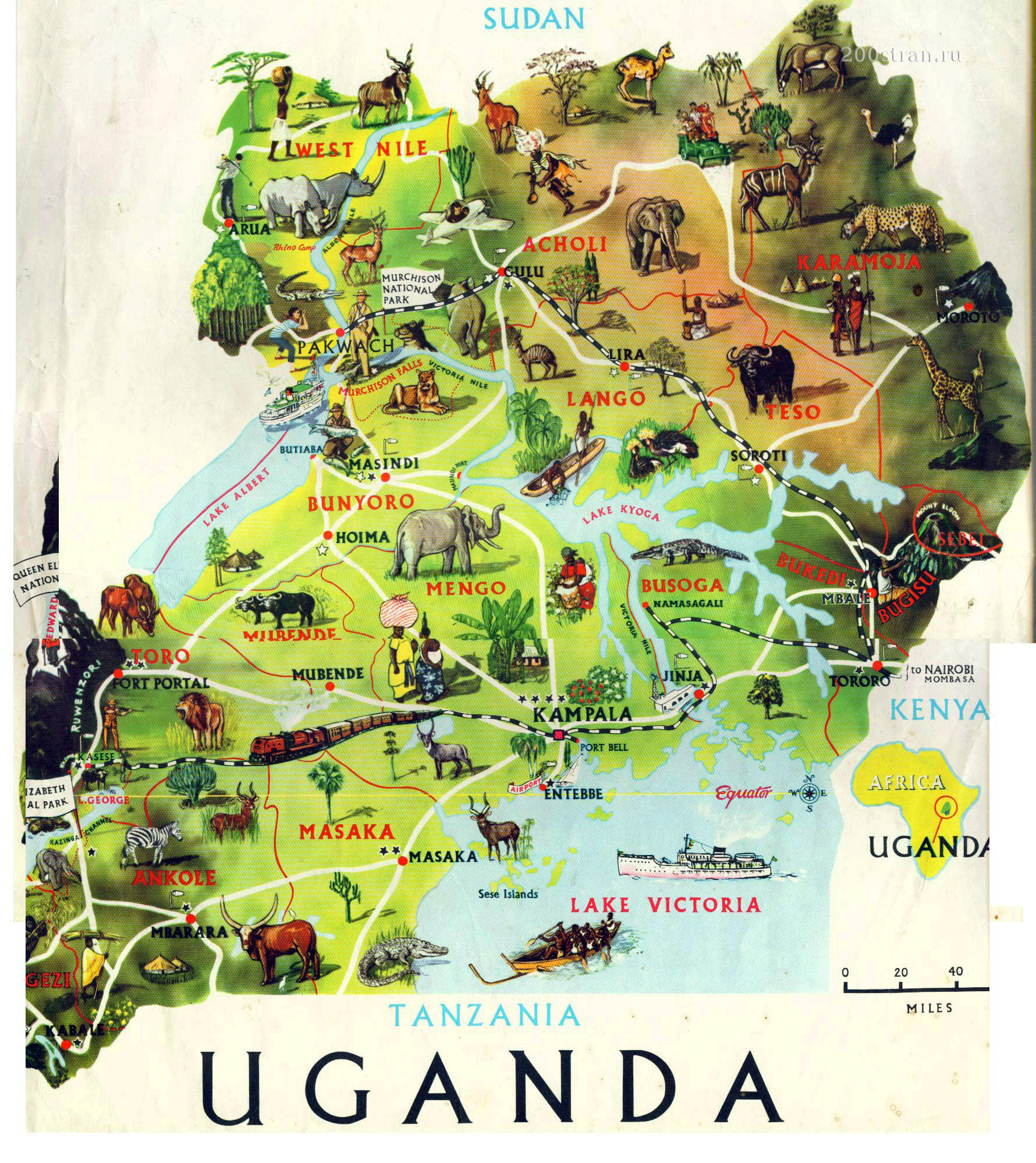 Large detailed tourist illustrated map of uganda uganda africa large detailed tourist illustrated map of uganda gumiabroncs Image collections