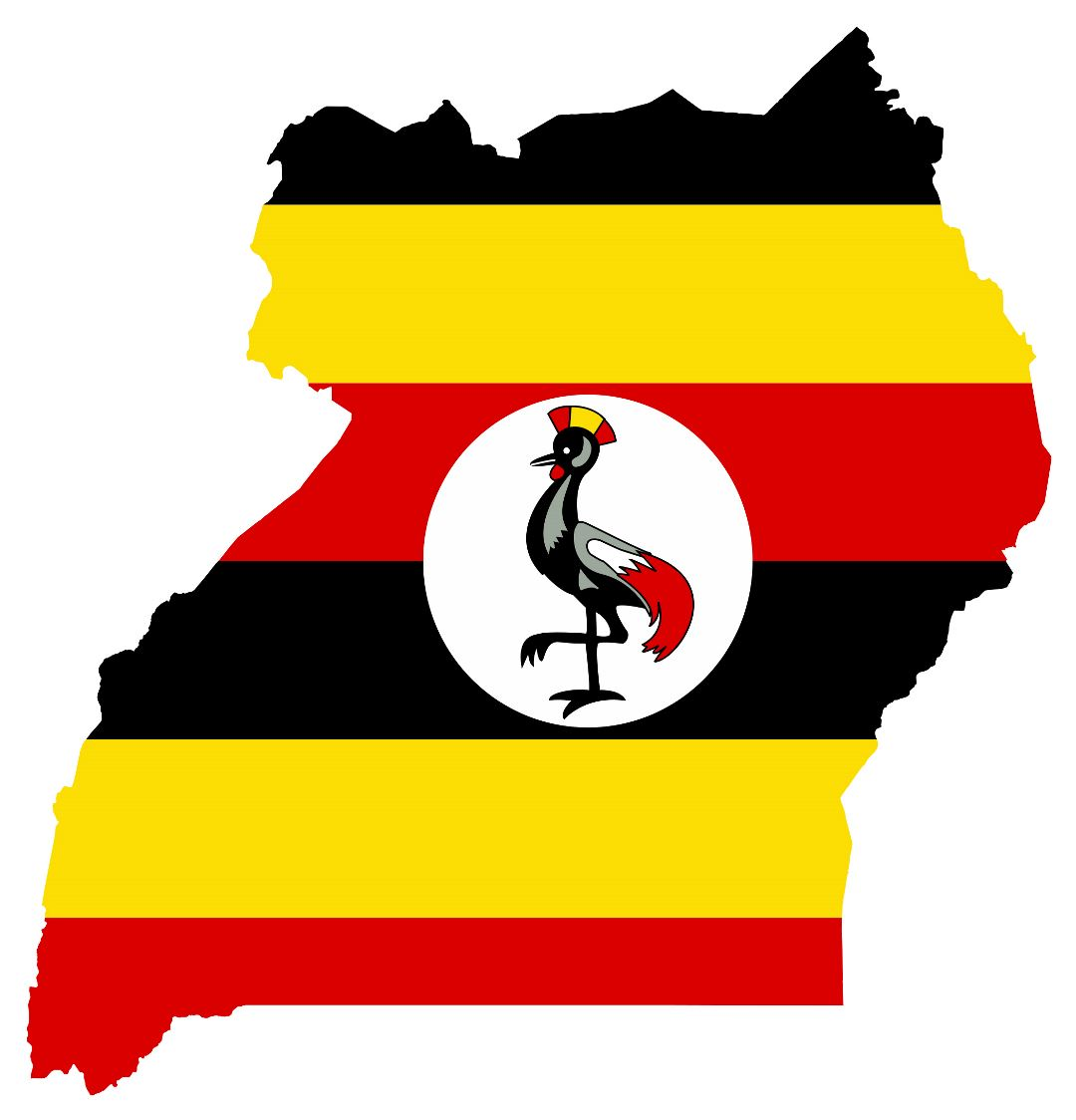 Large flag map of Uganda