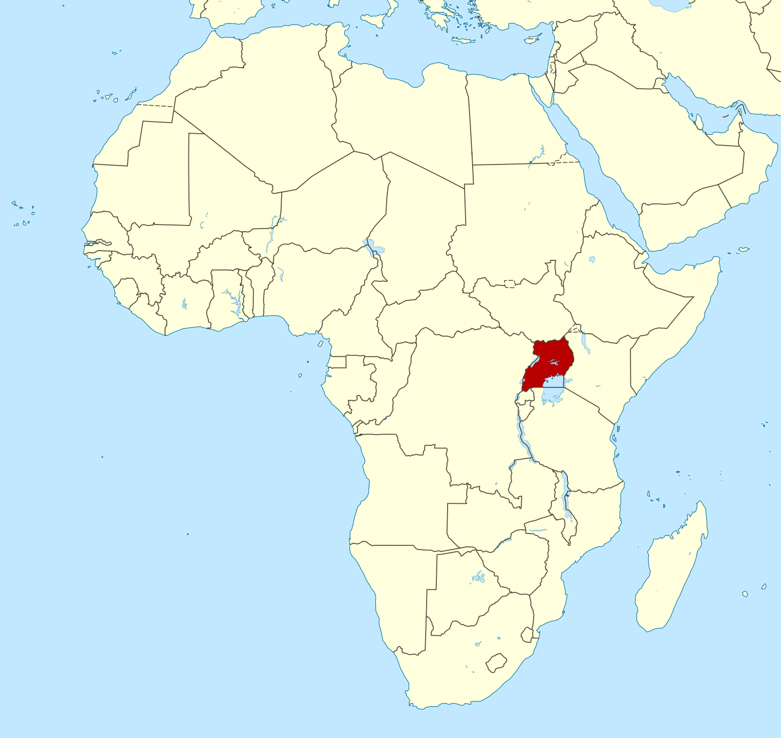 Large location map of Uganda in Africa | Uganda | Africa