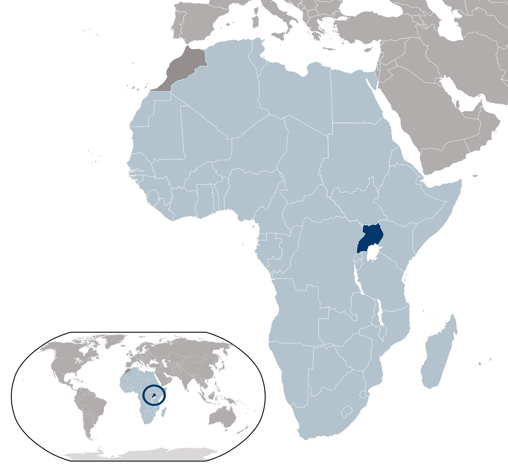 Large location map of Uganda | Uganda | Africa | Mapsland | Maps of ...