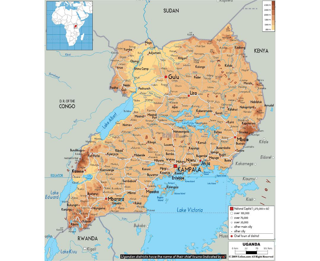 Large physical map of Uganda with roads, cities and airports