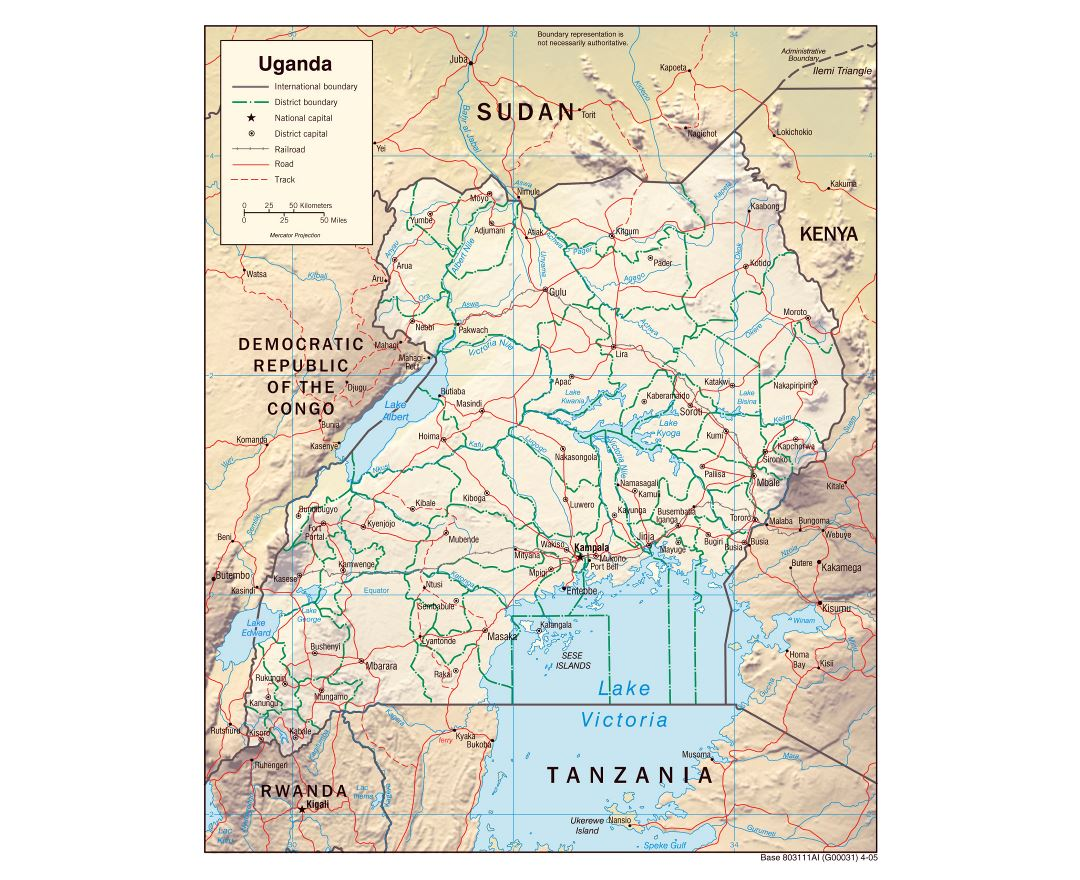 Large political and administrative map of Uganda with relief, roads, railroads and major cities - 2005