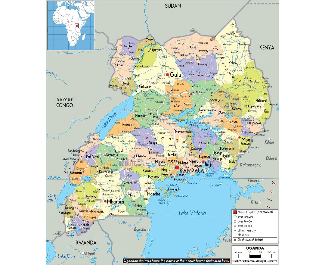 Maps of Uganda Detailed map of Uganda in English Tourist map