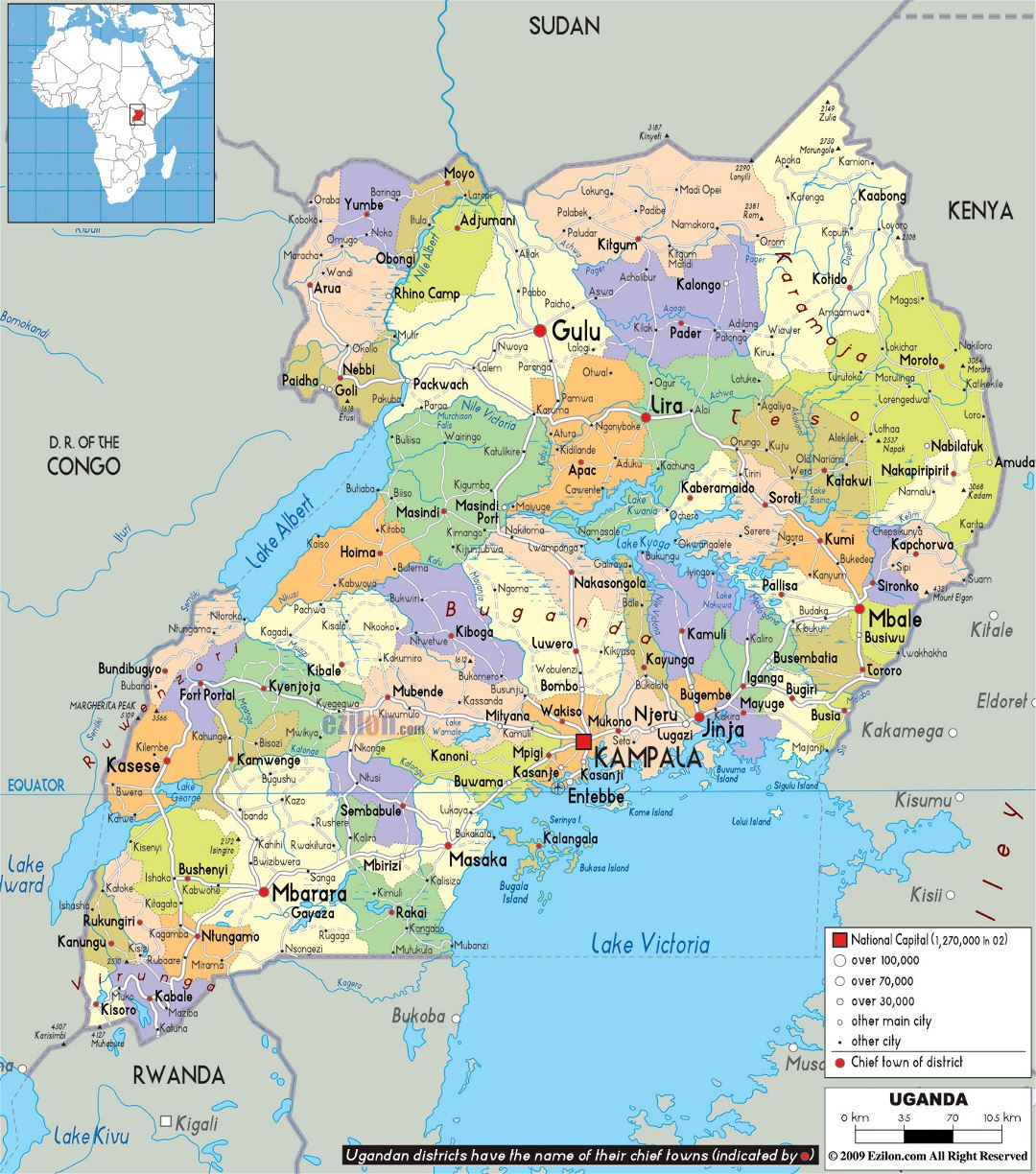Large political and administrative map of Uganda with roads, cities and airports