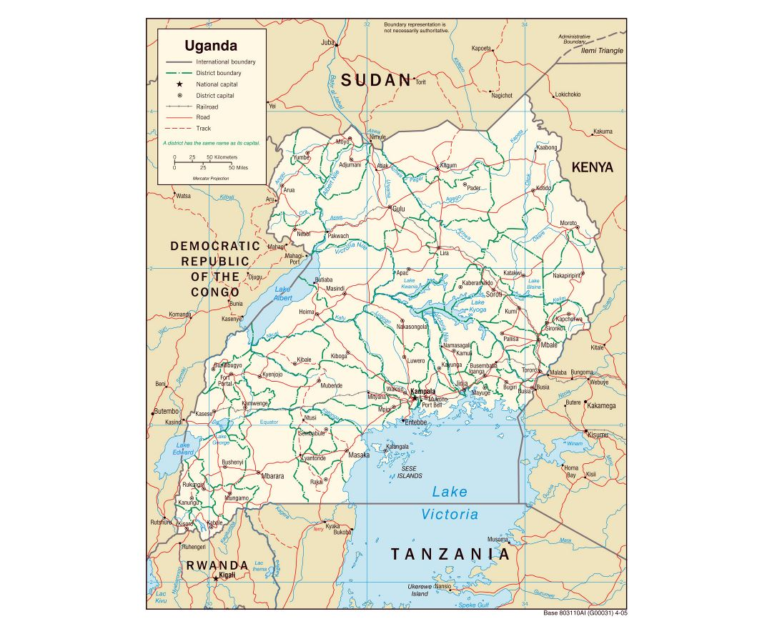 Large political and administrative map of Uganda with roads, railroads and major cities - 2005