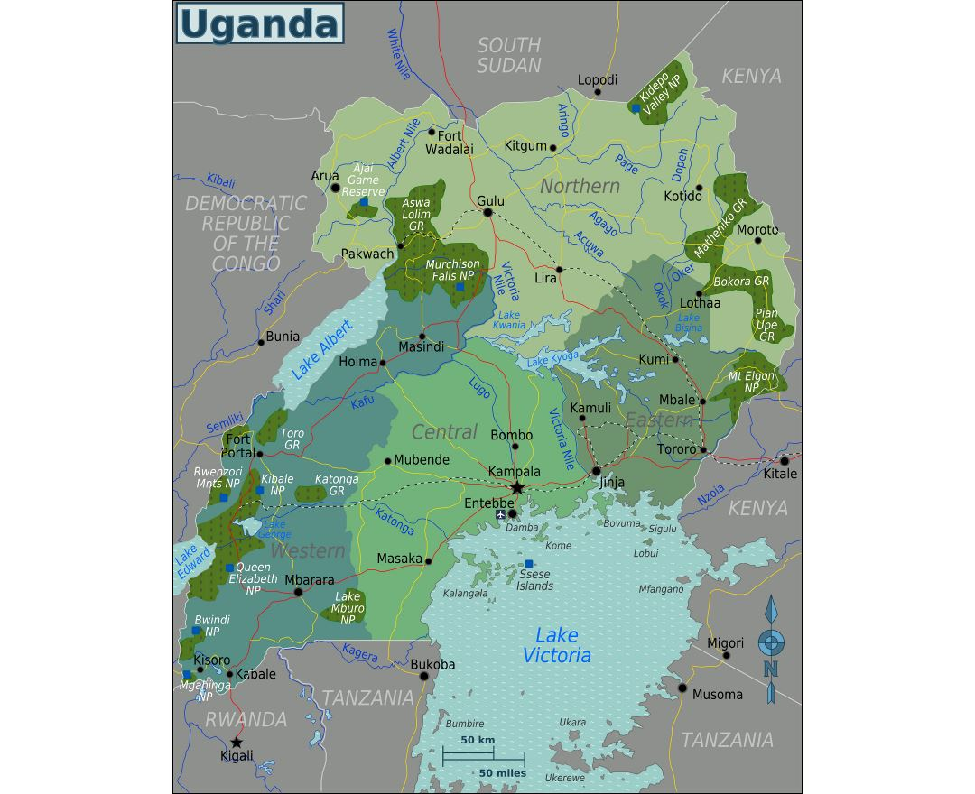 Large regions map of Uganda