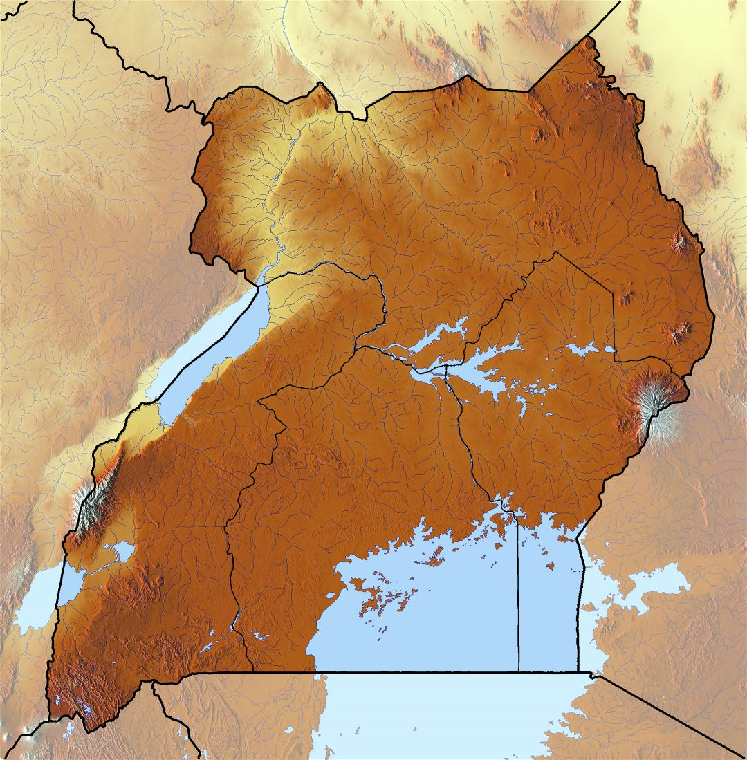 Large relief map of Uganda