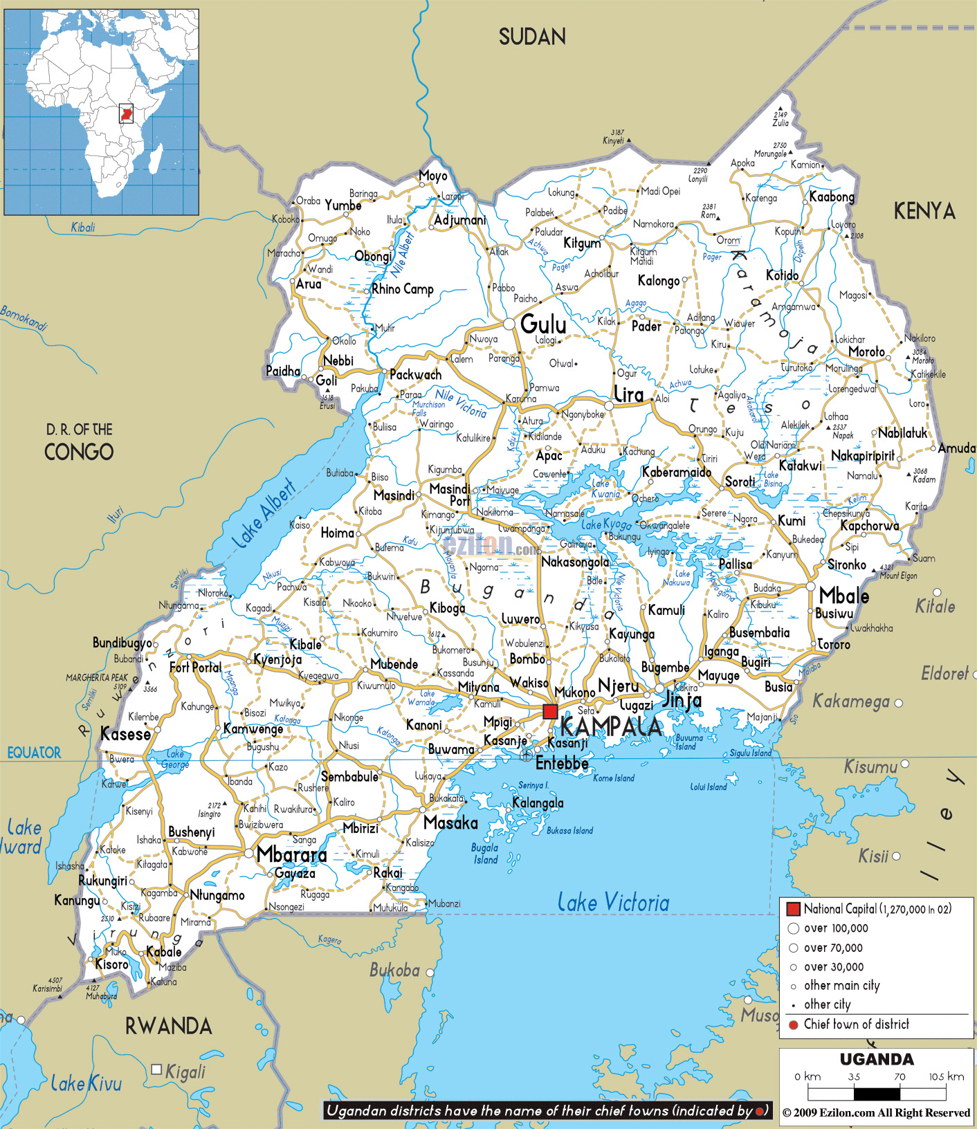 Large Road Map Of Uganda With Cities And Airports Uganda Africa