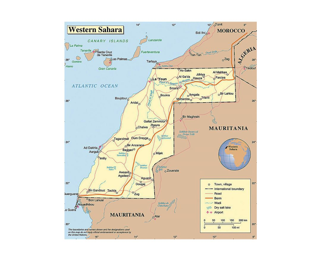 Maps Of Western Sahara Detailed Map Of Western Sahara In English - Western sahara map