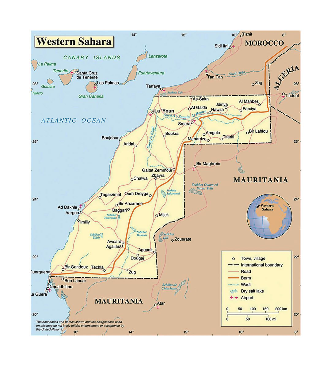 Detailed political map of Western Sahara