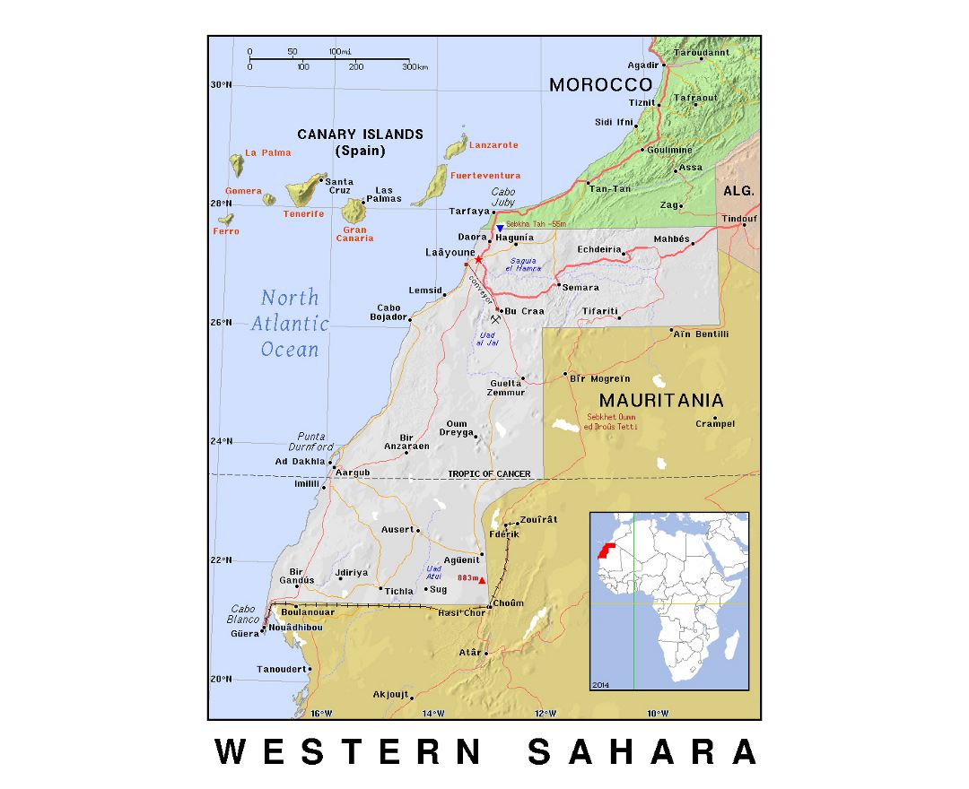 Detailed political map of Western Sahara with relief