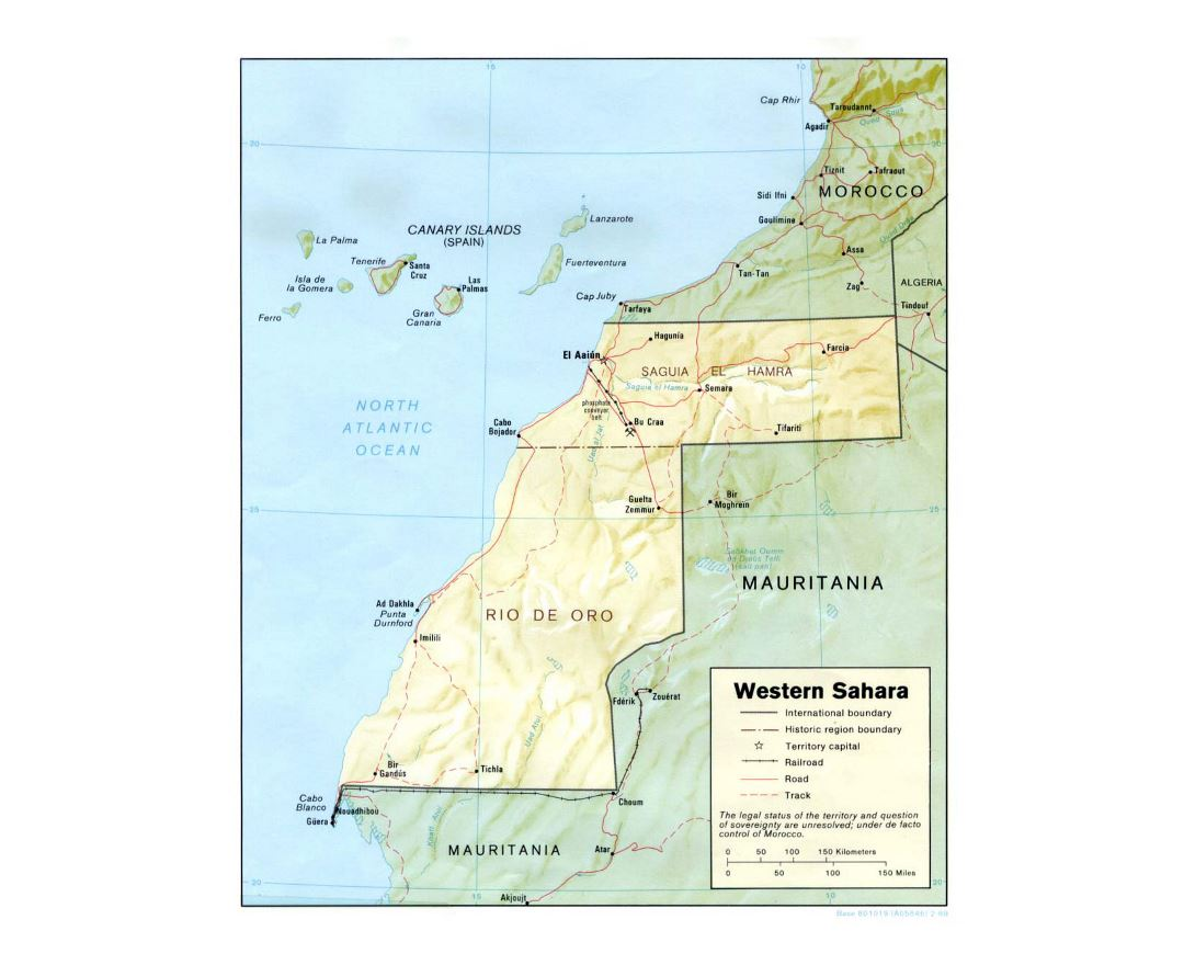 Detailed political map of Western Sahara with relief, roads, railroads and major cities - 1989