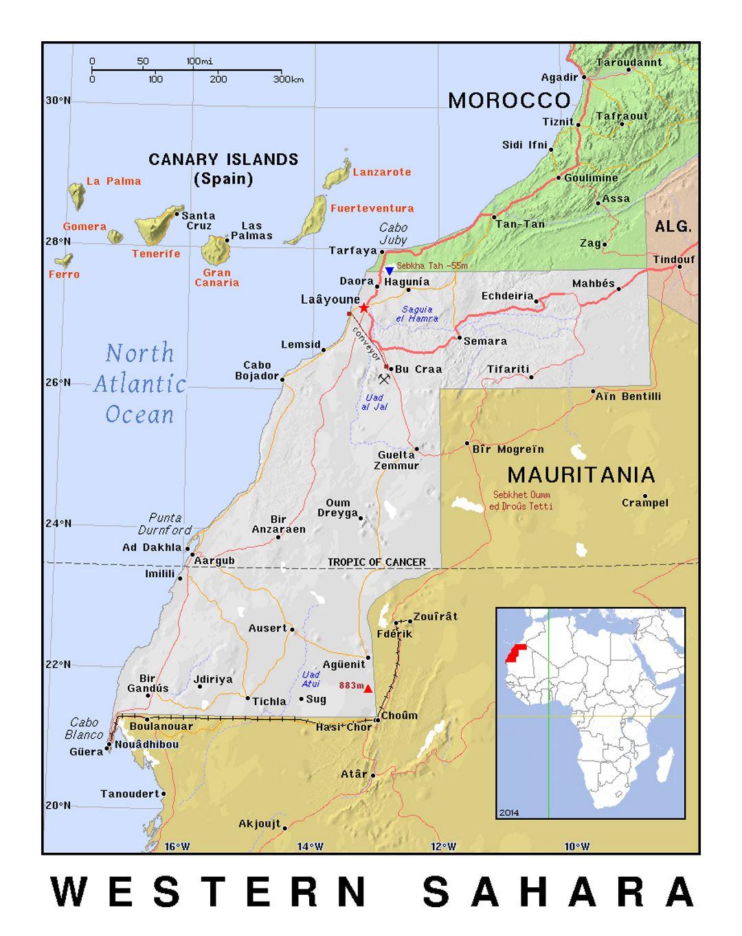 Detailed political map of Western Sahara with relief ... on arabian peninsula map, sudan map, namib map, congo basin map, great rift valley map, atlas mountains map, mecca map, gobi map, lake tanganyika map, zambezi river map, zagros mountains map, red sea map, kalahari map, madagascar map, desert map, sahel map, cape of good hope map, taurus mountains map, atacama map, africa map,