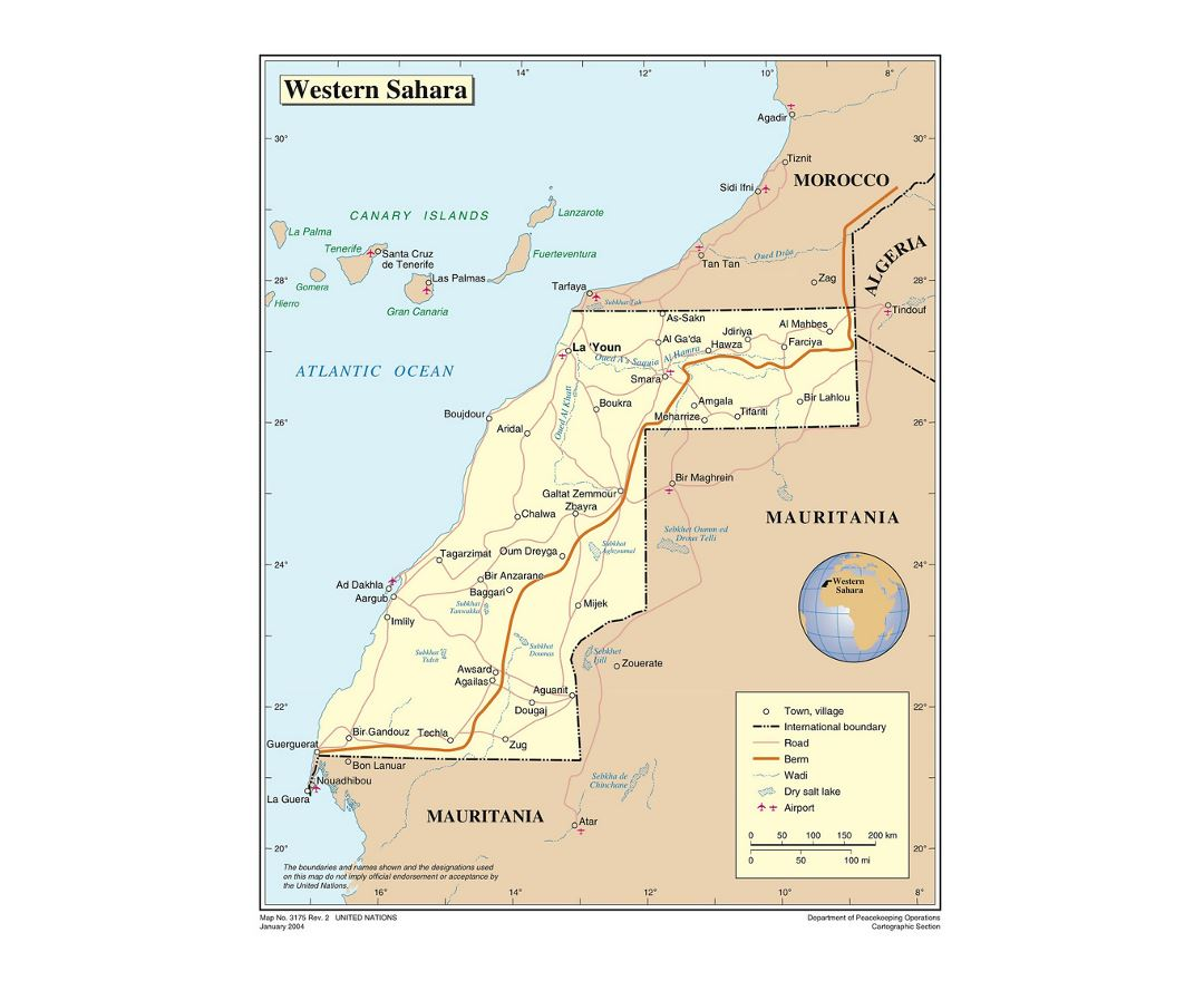 Detailed political map of Western Sahara with roads, cities, airports and other marks