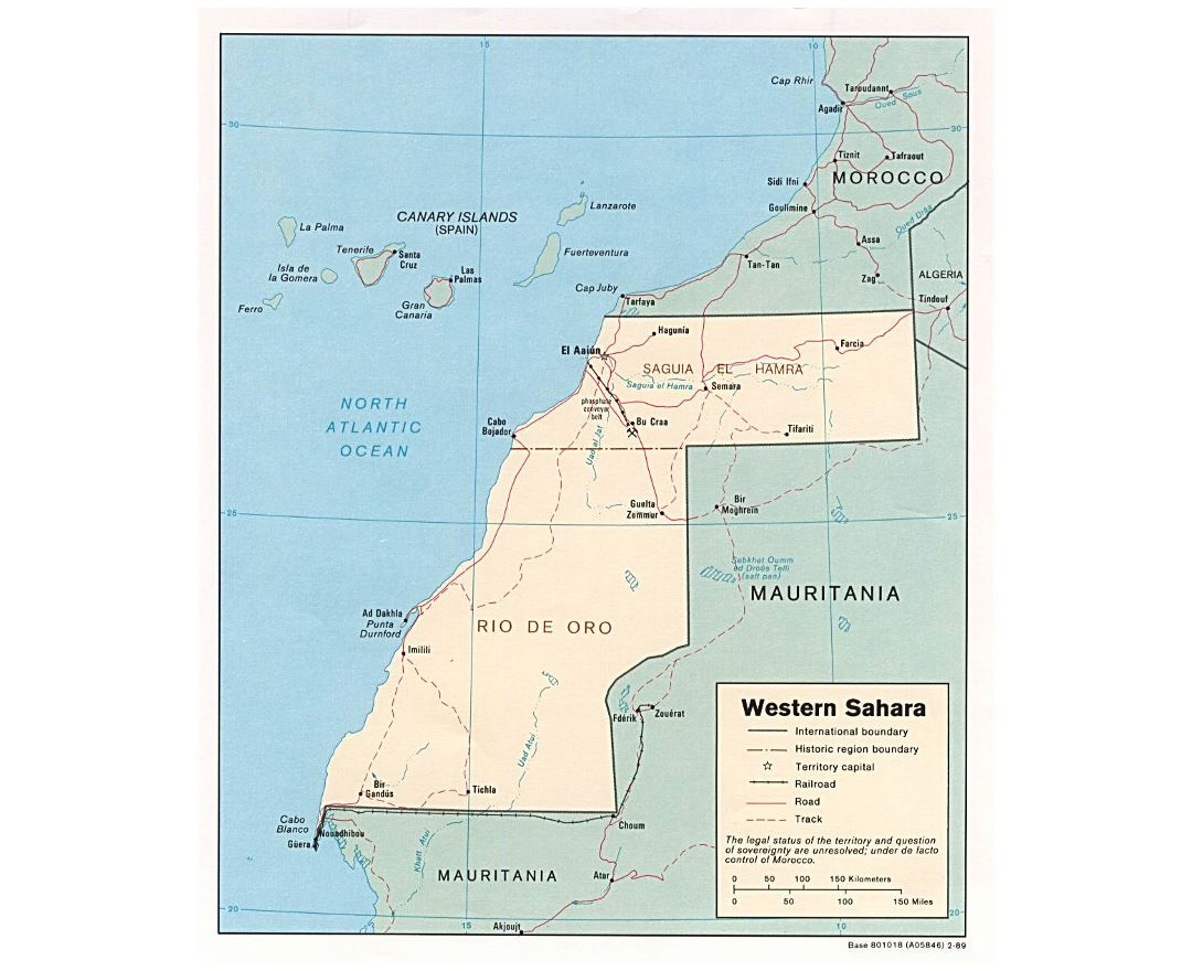 Detailed political map of Western Sahara with roads, railroads and major cities - 1989