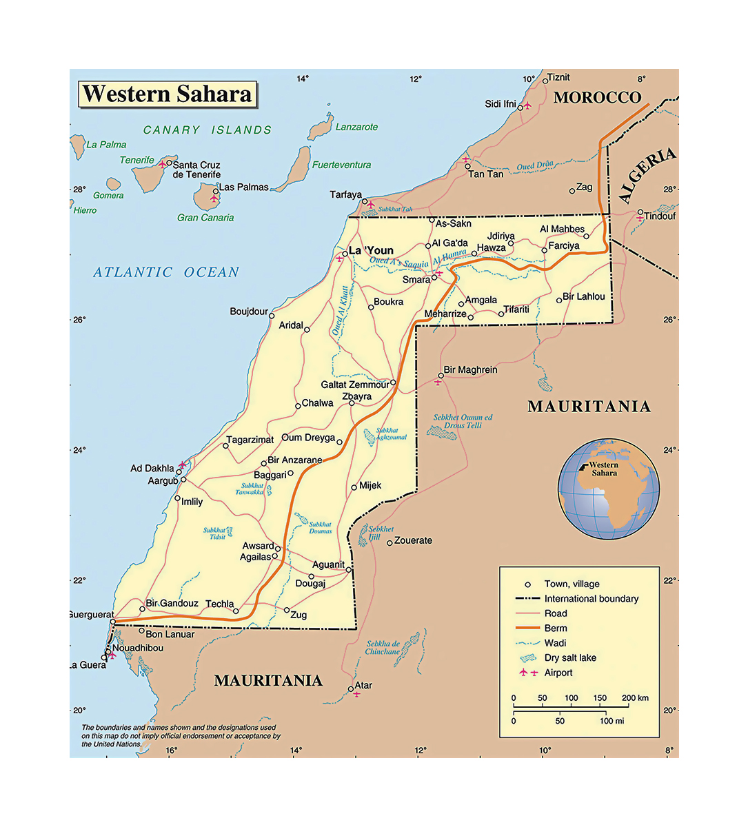 Map Of Africa Sahara.Detailed Political Map Of Western Sahara Western Sahara Africa