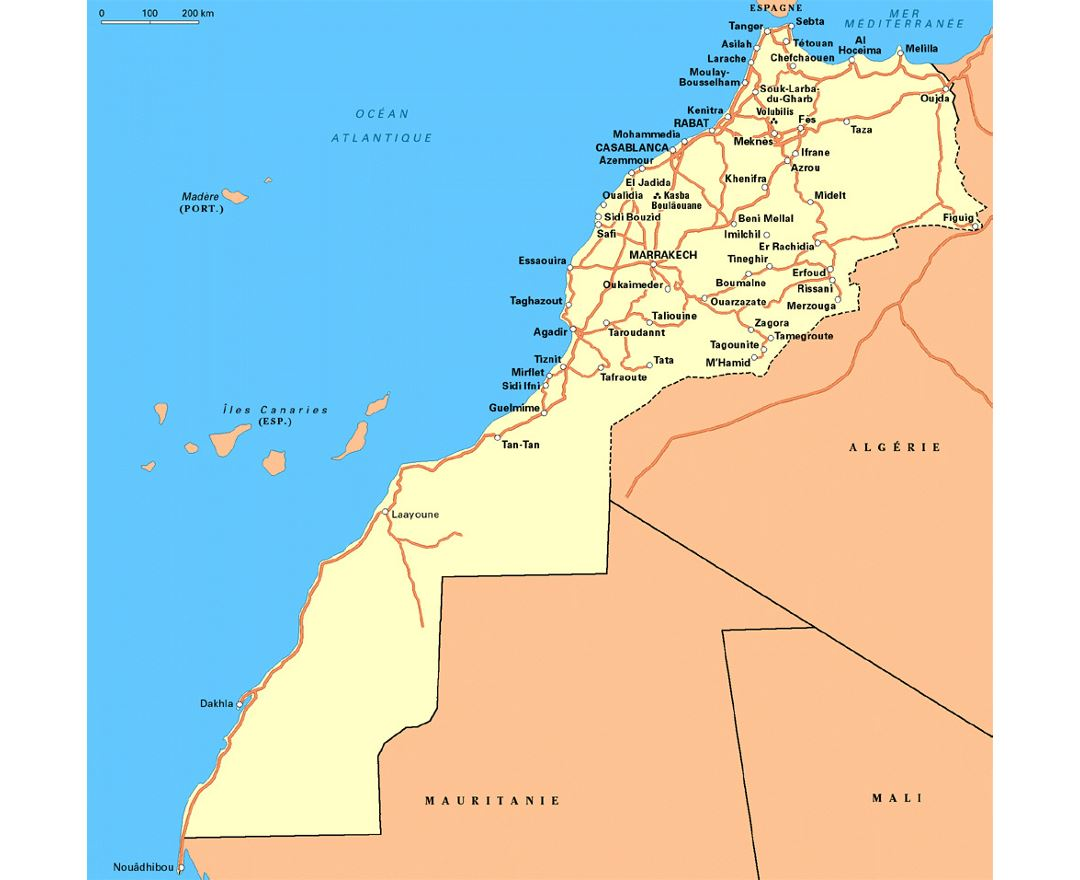 Detailed road map of Western Sahara and Morocco