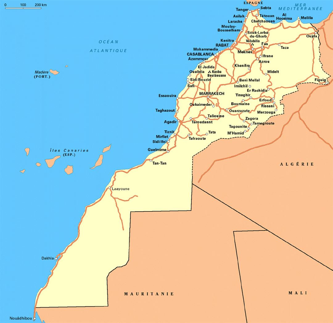 Detailed Road Map Of Western Sahara And Morocco Western Sahara - Western sahara map
