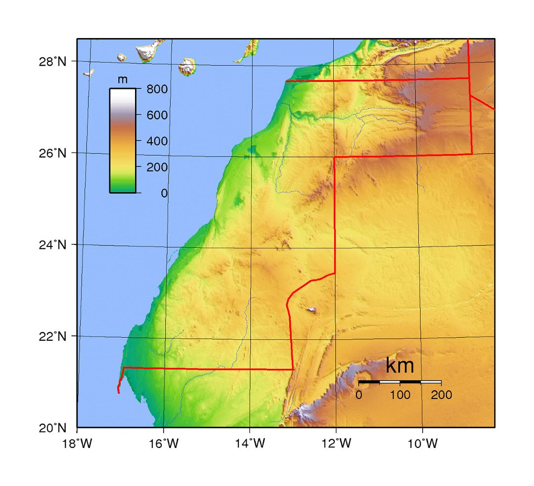 Detailed topographical map of Western Sahara