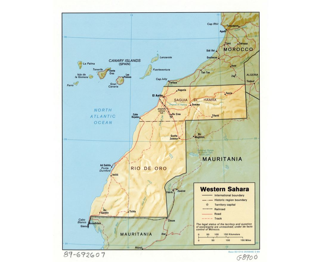 Large detailed political and administrative map of Western Sahara with relief, roads, railroads and major cities - 1989