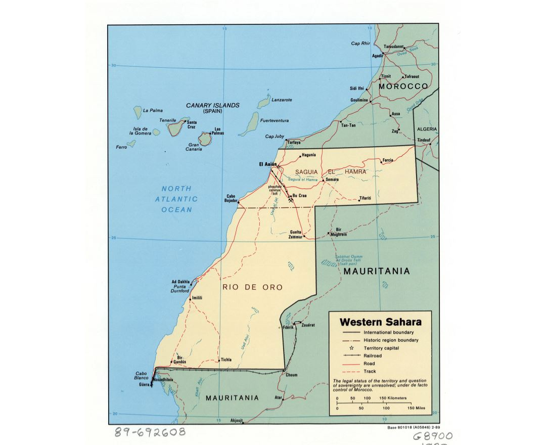 Large detailed political and administrative map of Western Sahara with roads, railroads and major cities - 1989
