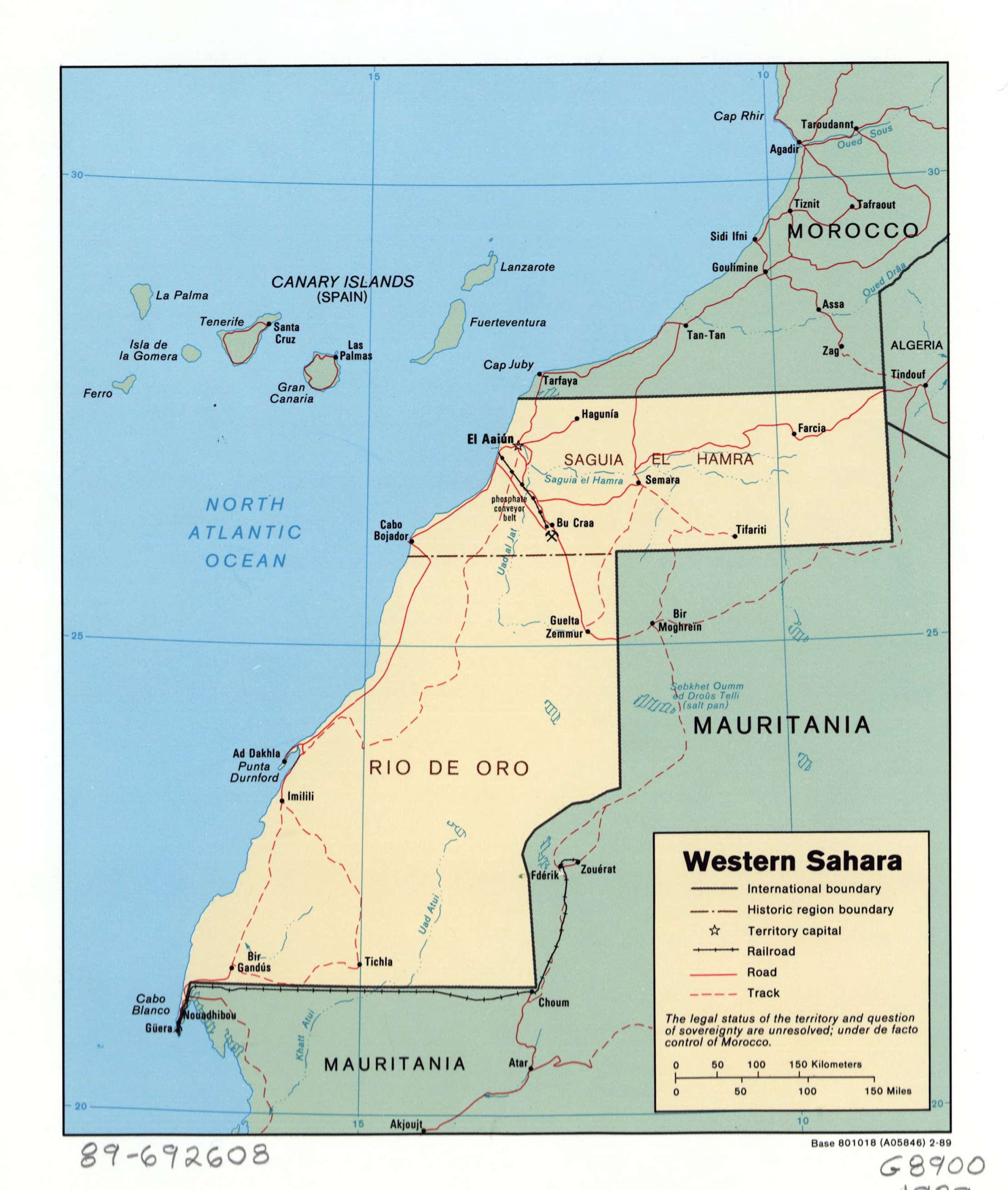 Large detailed political and administrative map of Western Sahara