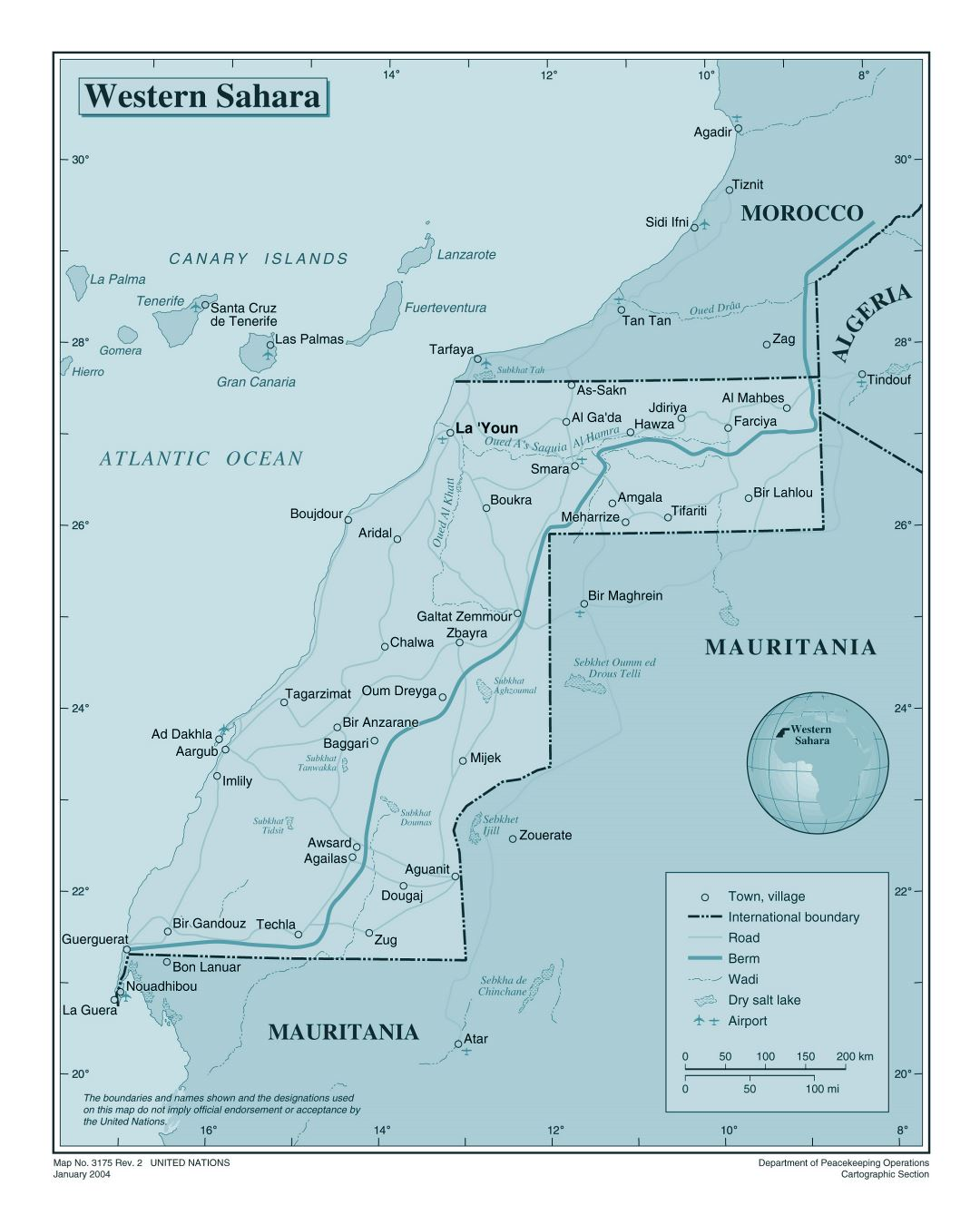 Large detailed political map of Western Sahara with roads, cities, airports and other marks
