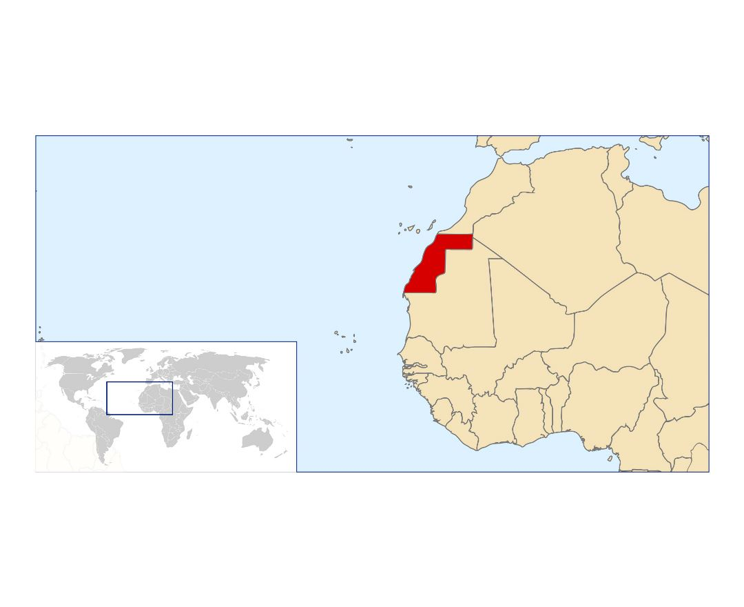 Large location map of Western Sahara in the World