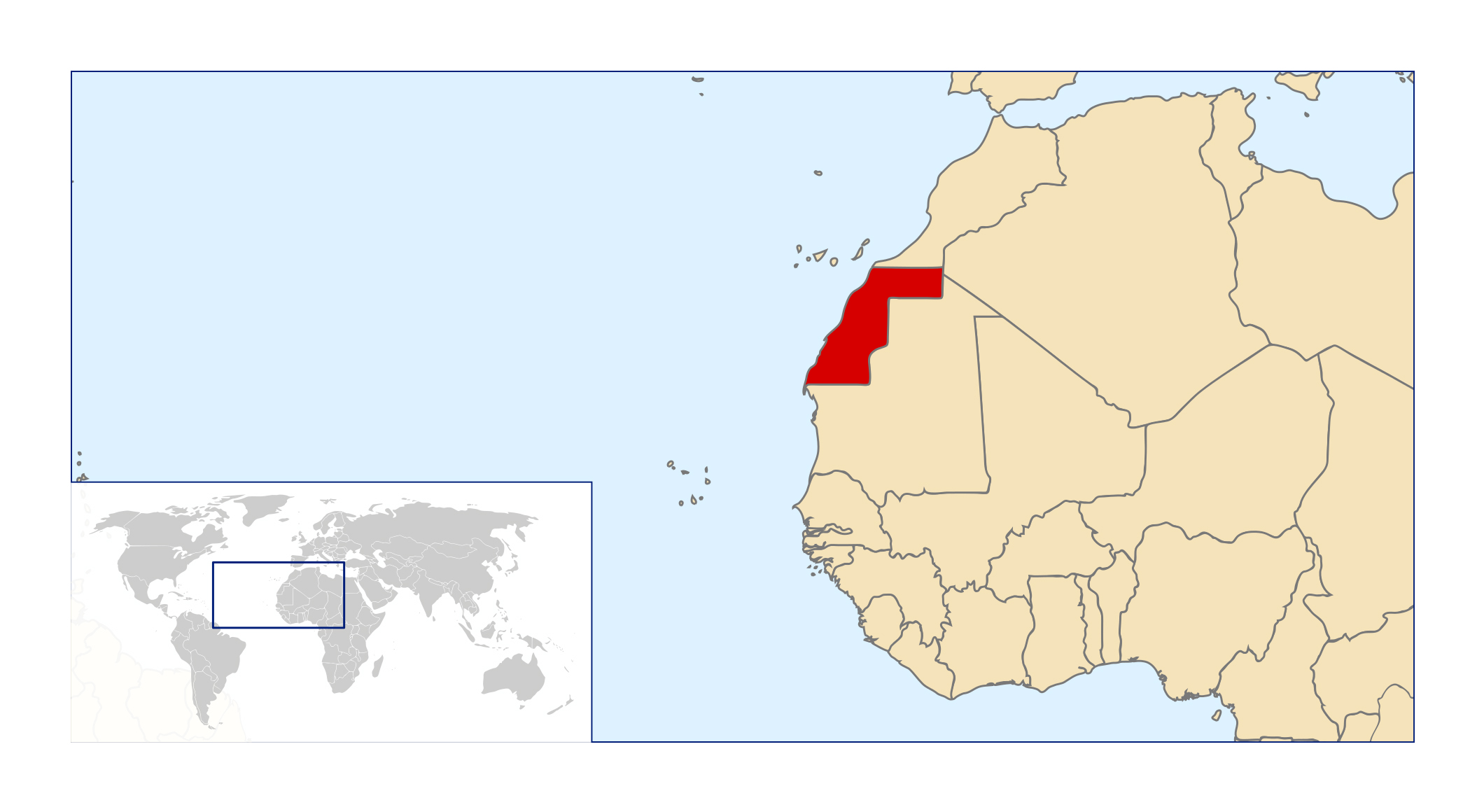 Large location map of Western Sahara in the World Western Sahara