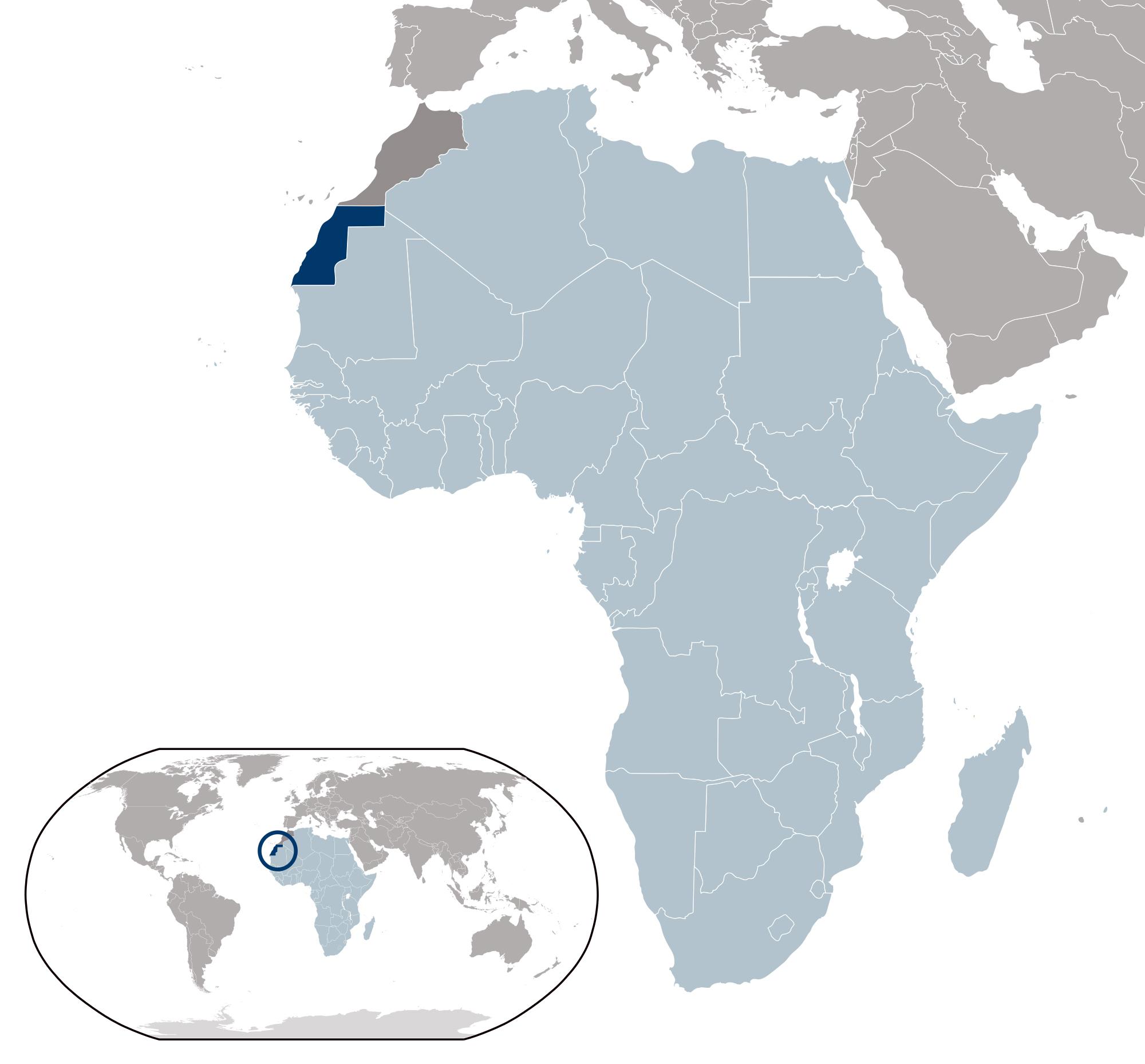 Image of: Large Location Map Of Western Sahara Western Sahara Africa Mapsland Maps Of The World