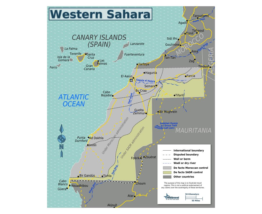 Large regions map of Western Sahara