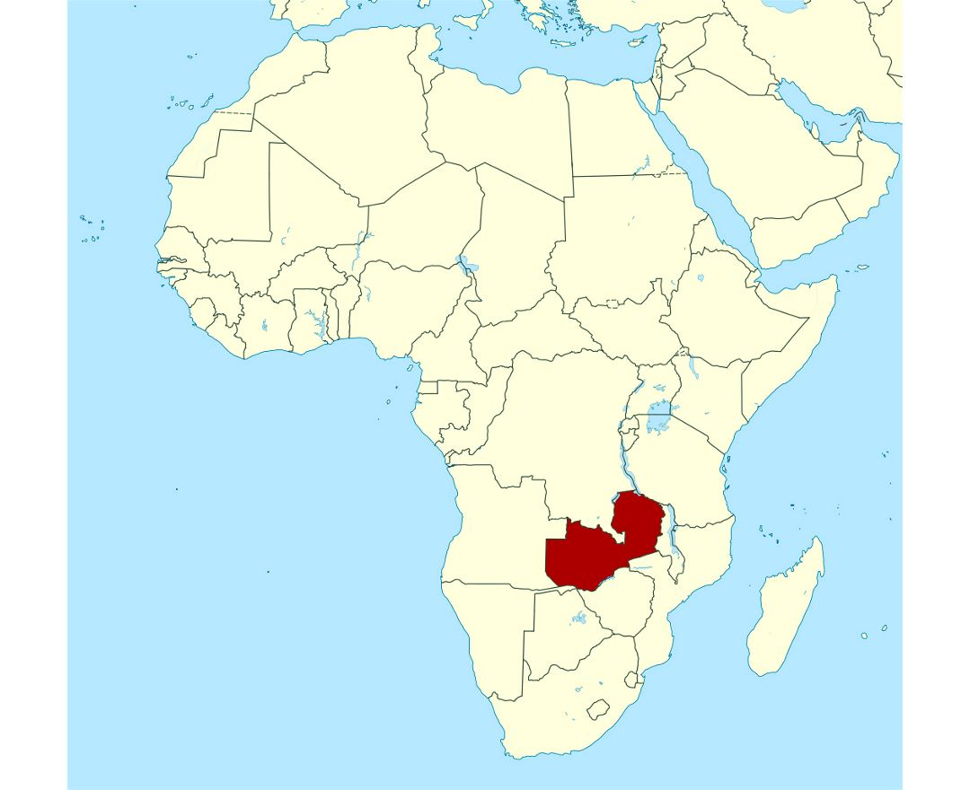 Detailed location map of Zambia in Africa
