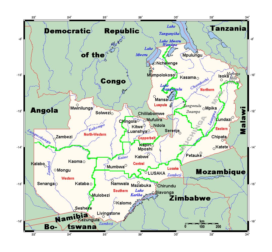 Detailed map of Zambia | Zambia | Africa | Mapsland | Maps of the World