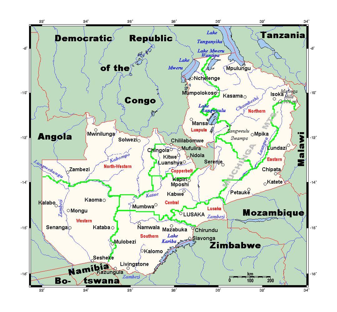 Detailed Map Of Zambia Zambia Africa Mapsland Maps Of The - Zambia map