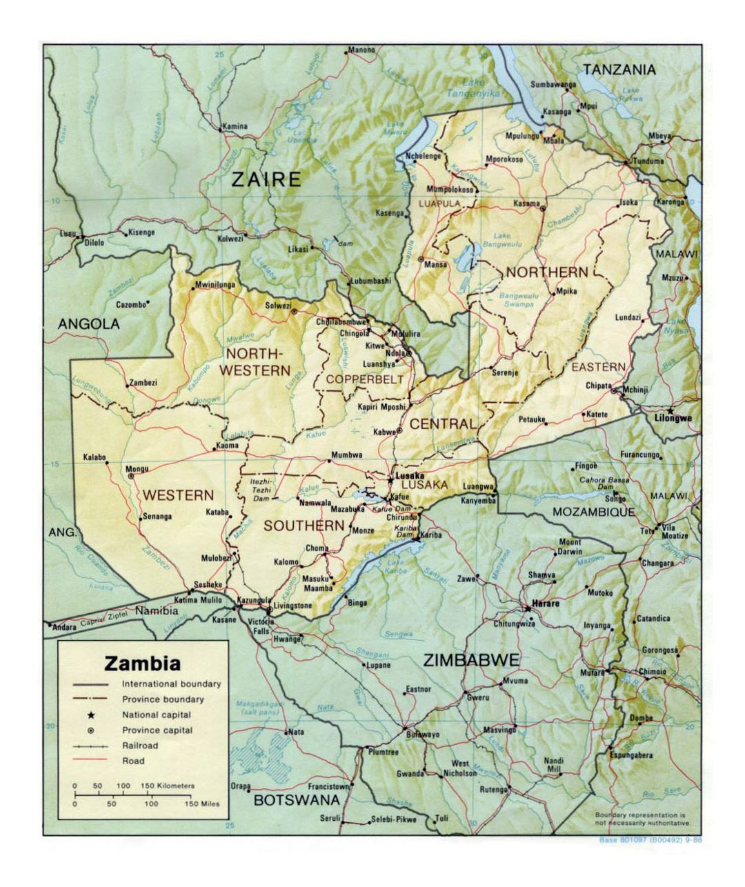 Detailed political and administrative map of Zambia with relief, roads, railroads and major cities - 1988