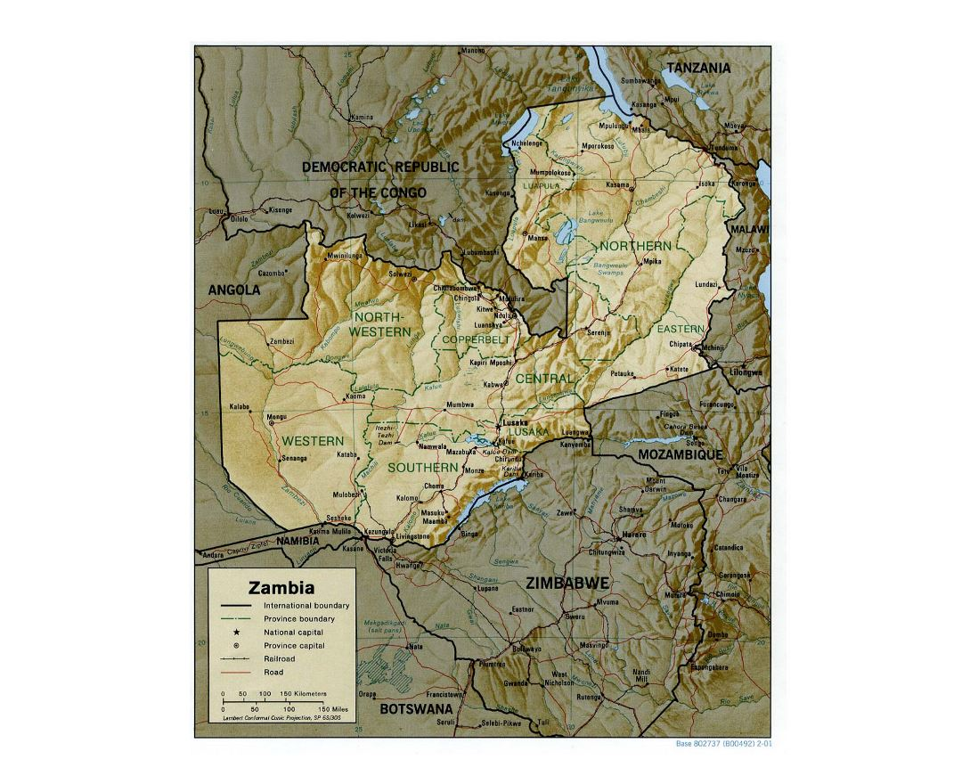 Detailed political and administrative map of Zambia with relief, roads, railroads and major cities - 2001