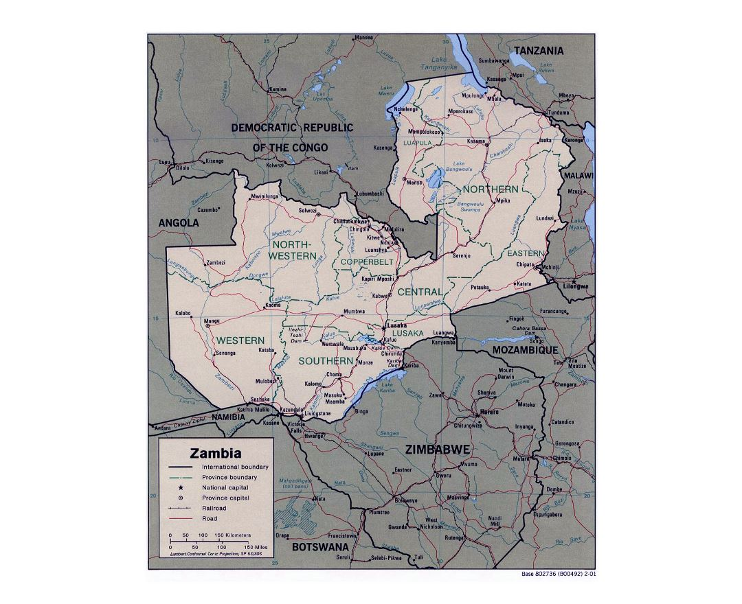 Maps of Zambia Detailed map of Zambia in English Tourist map