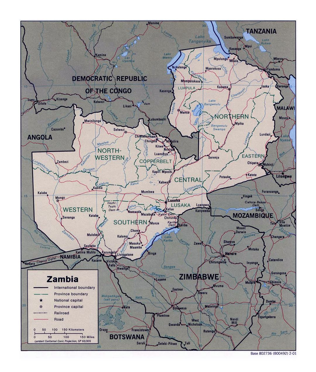 Detailed political and administrative map of Zambia with roads, railroads and major cities - 2001