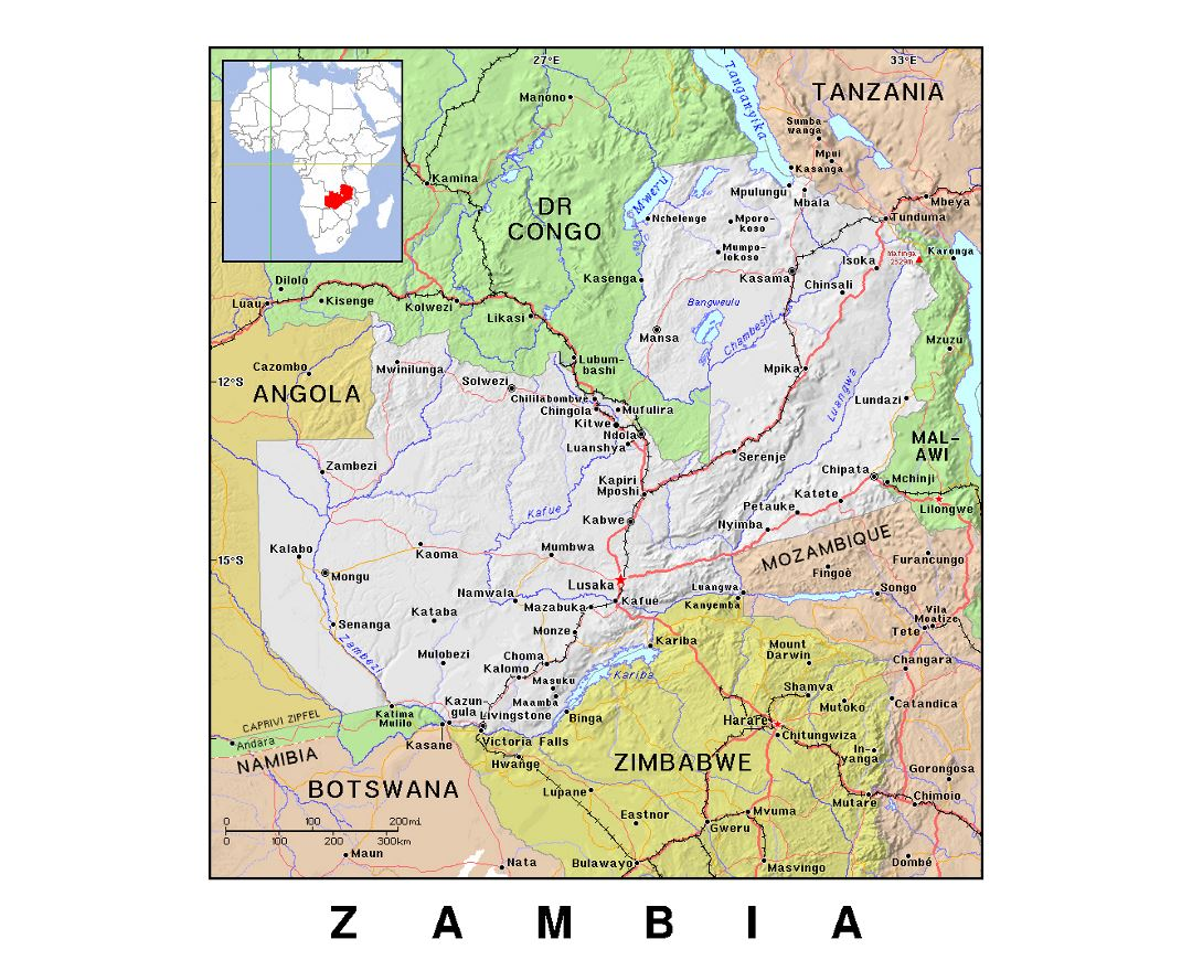 Detailed political map of Zambia with relief