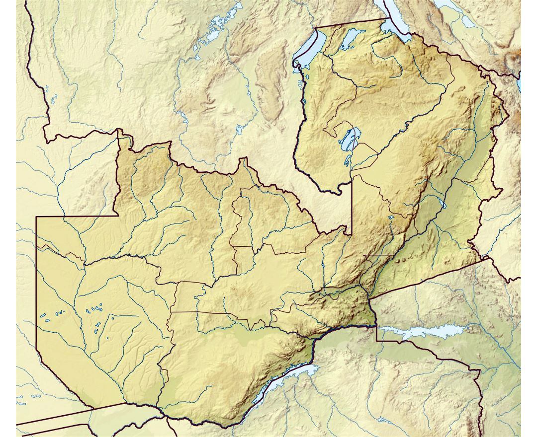 Detailed relief map of Zambia
