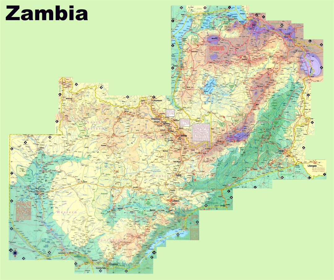 Large detailed elevation map of Zambia with roads, cities, towns and other marks