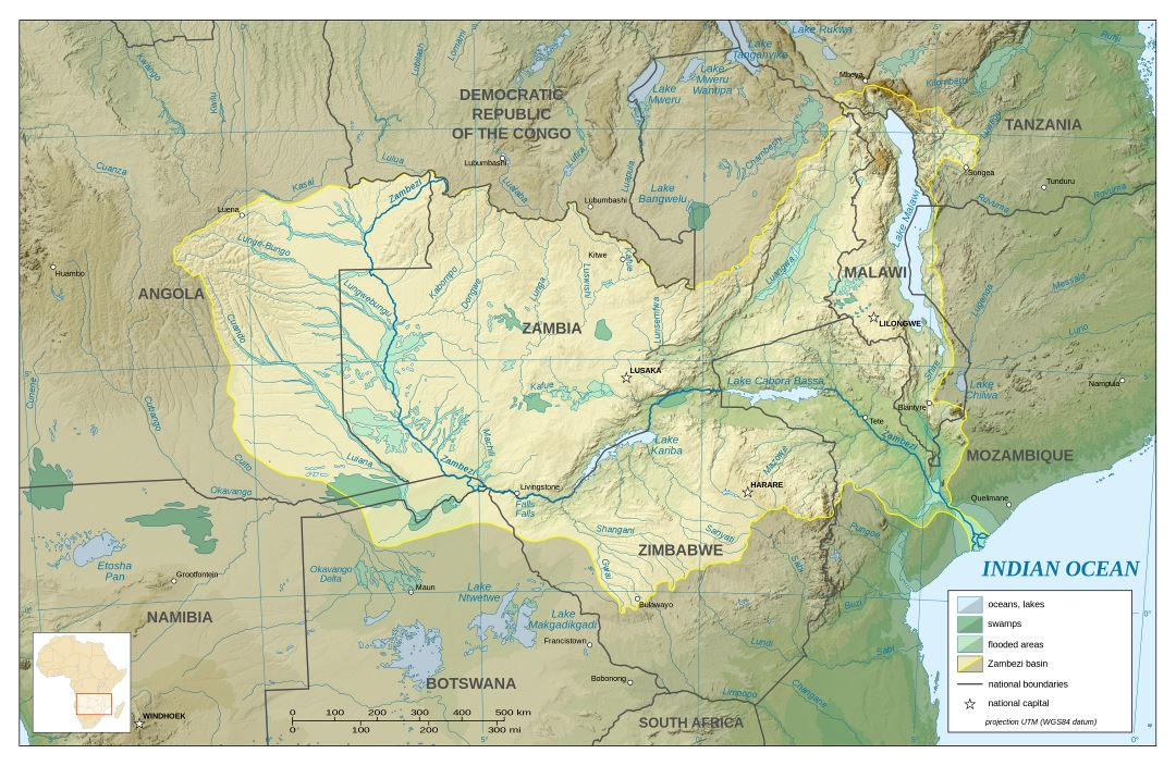 Large detailed hydrographic map of Zambia