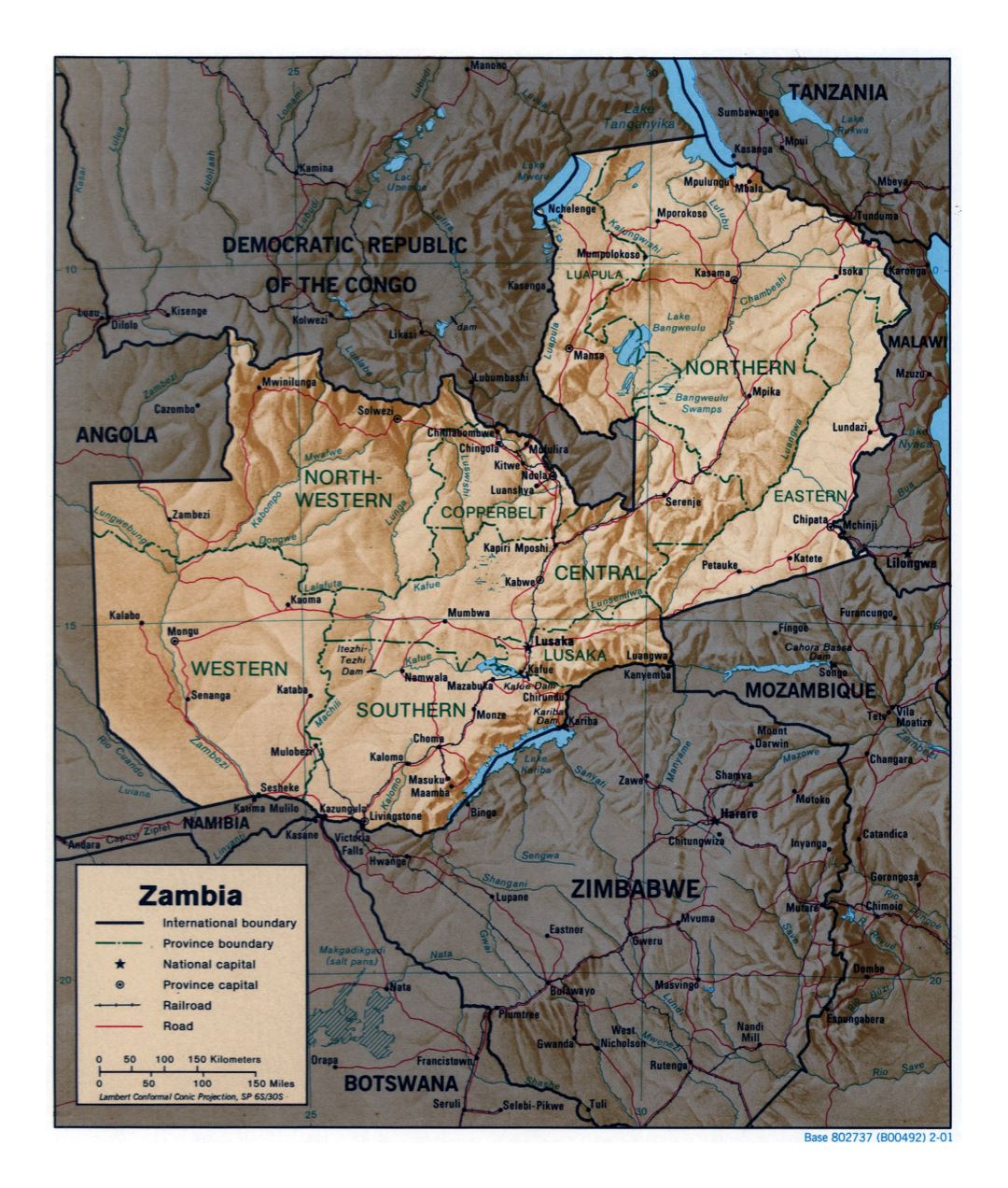 Large detailed political and administrative map of Zambia with relief, roads, railroads and major cities - 2001