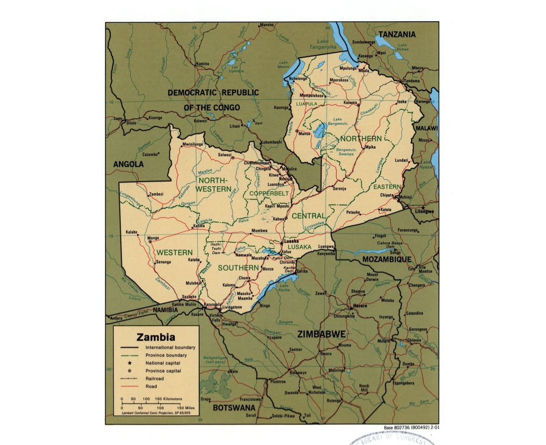 Large detailed political and administrative map of Zambia with roads, railroads and major cities - 2001